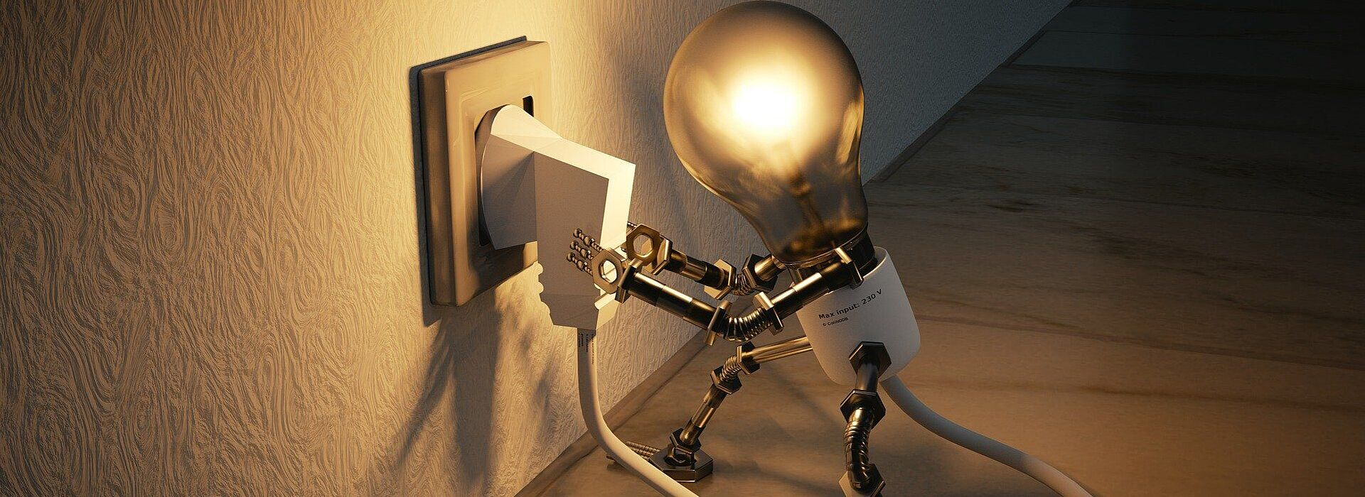 desenho 3d de uma lâmpada se conectando à tomada sozinha