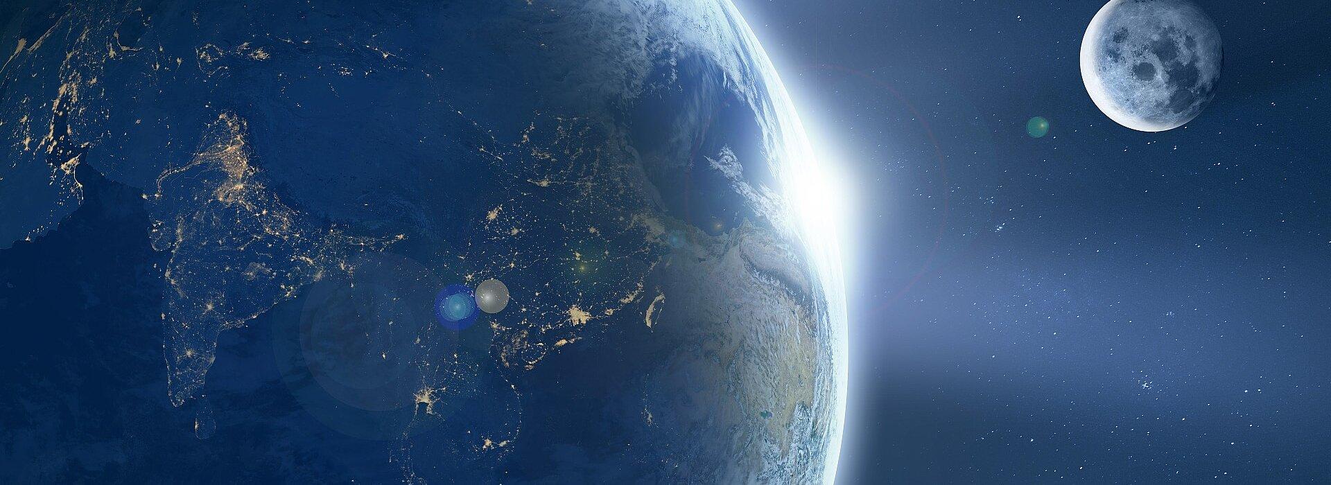vista distante da Terra e da Lua