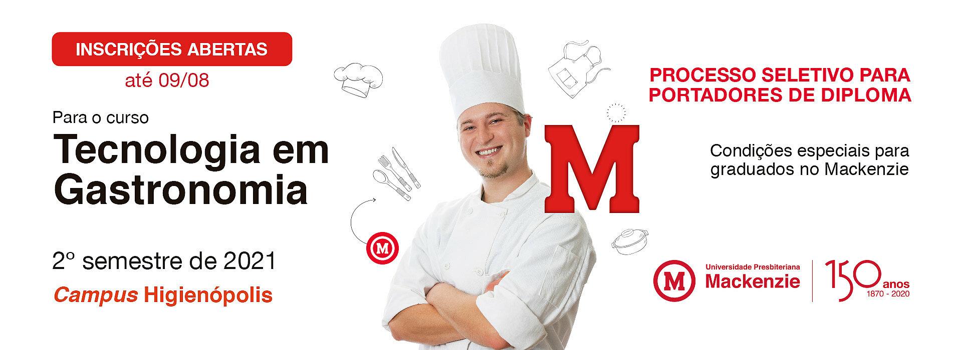 Capa para o processo seletivo do curso de Gastronomia 2021.2