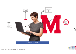 """A foto de capa mostre uma mulher com um computador na mão e o logo do Mackenzie atrás. Ao lado direito está escrito """"Descontos especiais nas mensalidades do curso"""""""