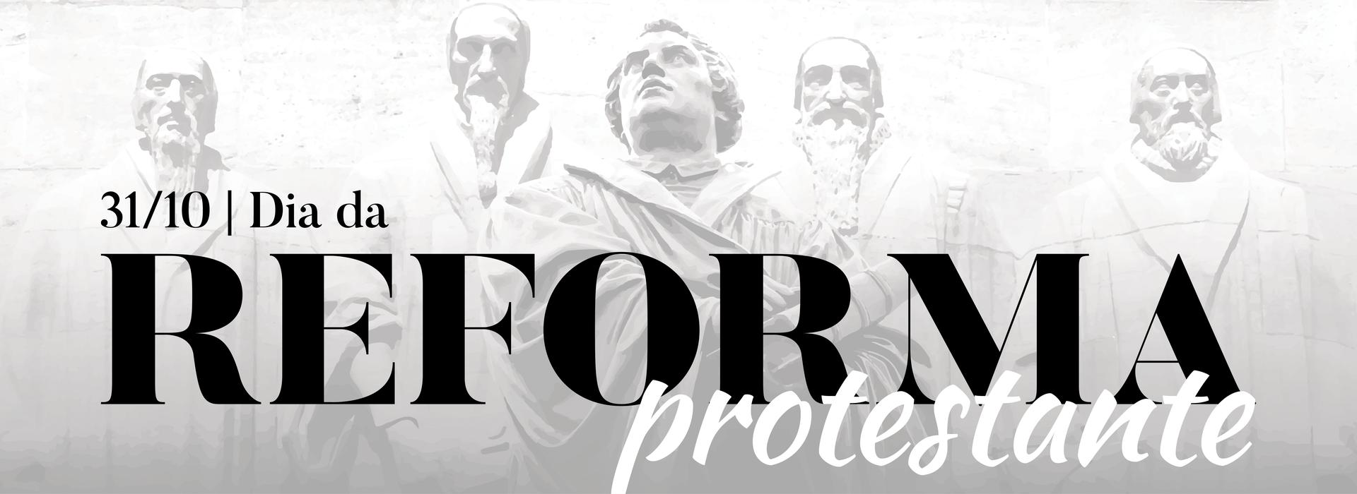 imagem com os pais da Reforma protestante em estátuas imponentes