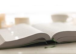 A imagem mostra um livro aberto sendo visto de frente.