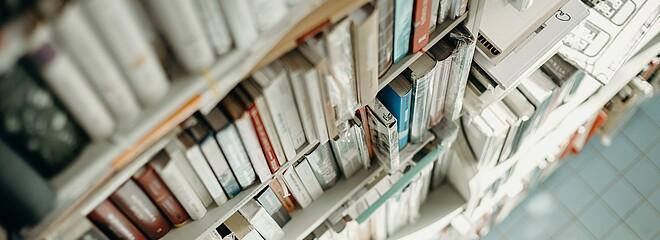 A foto de capa mostra uma estante de livros, registrada de cima. A parte superior da foto está desfocada e a inferior também. Apenas os livros do meio estão em destaque. Uma luz natural invade a foto, iluminando alguns livros.