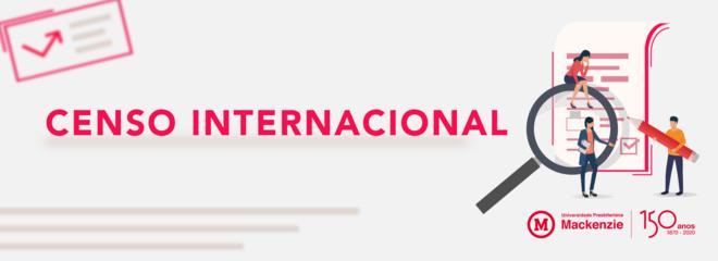 """imagem´de desenhos de pessoas próximas a um formulário, com uma lupa maior em primeiro plano. A imagem traz tons de cinza, branco e vermelho com dizeres """"Censo Internacional"""""""