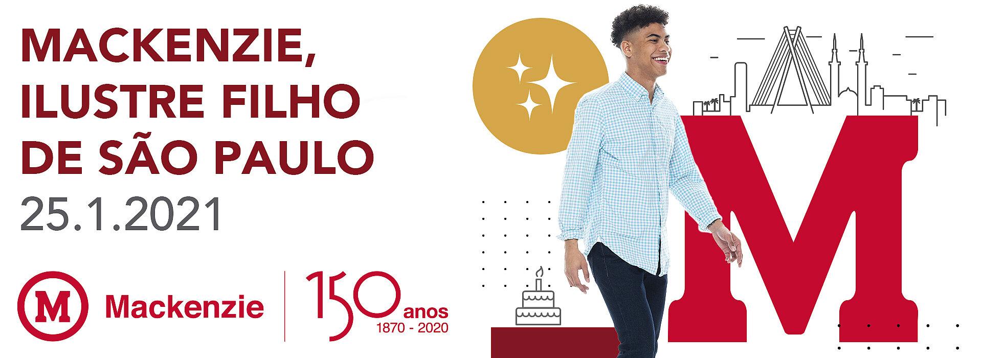 Arte com um rapaz de camisa azul caminhando feliz com ícones que remetem a São Paulo