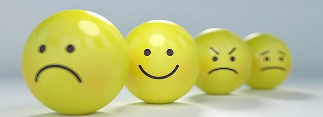 Imagem retrata bolinhas amarelas e cada uma representando um humor