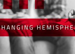 """A imagem em preto e branco tem destaques em vermelho com o escrito """"Exchanging Hemispheres"""" em destaque. Logo atrás, uma foto de uma pessoa com uma caneta fazendo anotações, com duas pessoas no fundo da foto, como se fosse uma sessão de terapia."""