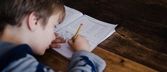 A foto mostra, de cima para baixo, um menino estudando. Ele está com um lápis na mão e um livro sobre a mesa.
