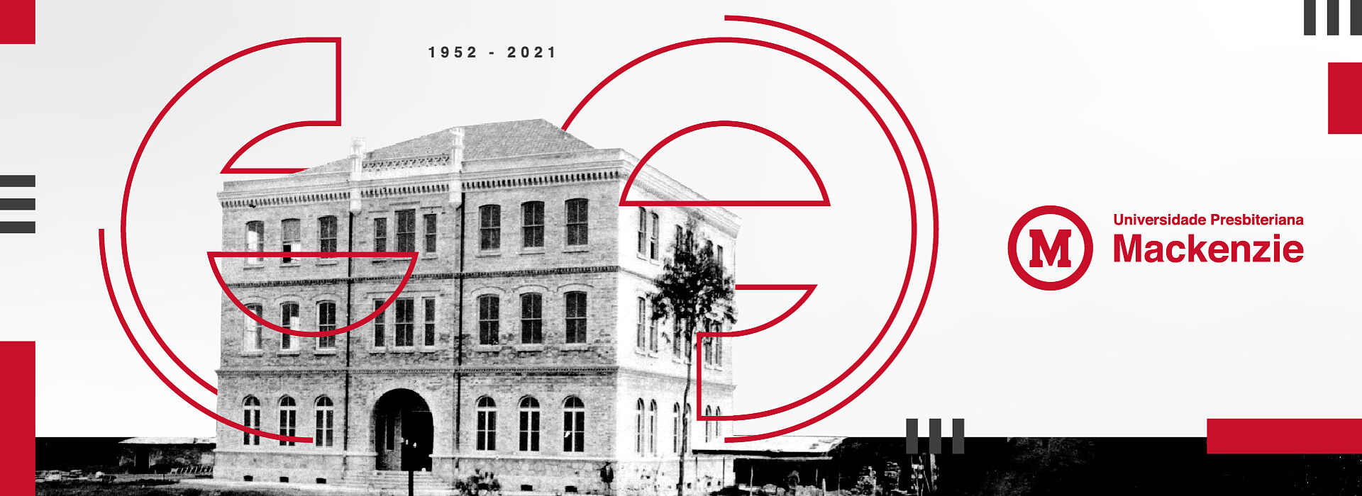 A imagem de capa é um imagem ilustrativa, com o logo da universidade presbiteriana mackenzie do lado direito e um prédio histórico do mackenzie ao lado esquerdo.